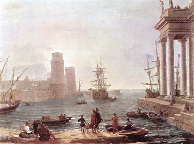 """Departure of Ulysses from the Land of the Pheacians"" by Claude Lorrain (1604/1605–1682)"