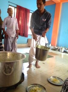 Serving prasad